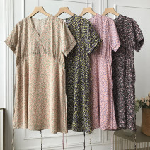 Dress Summer 2021 Yellow dress, apricot dress, pink dress, black dress Average size Mid length dress singleton  Short sleeve commute V-neck Loose waist Broken flowers other routine Others 18-24 years old Type A Korean version FG214690 30% and below other other
