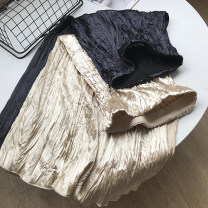 skirt Spring 2021 Average size Mid length dress commute High waist Pleated skirt Solid color Type A 18-24 years old 30% and below other cotton fold Korean version