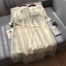 Dress Summer 2020 Apricot dress S,M,XL,2XL singleton  Short sleeve commute Crew neck letter Socket routine 18-24 years old Korean version SG154060 30% and below cotton