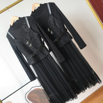 Dress Spring 2021 Black dress M, L Mid length dress Two piece set Long sleeves Sweet High collar High waist Solid color Single breasted Princess Dress routine 18-24 years old Type A SG514613 30% and below other other college