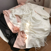 Dress Autumn 2020 White, black, pink S,M,L Short skirt singleton  Long sleeves commute One word collar High waist Solid color Socket A-line skirt routine Others 18-24 years old Type A FG414645 30% and below other