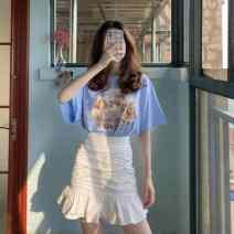 skirt Summer 2020 S. M, l, average size Skirt, Short Sleeve T Short skirt commute High waist A-line skirt Solid color Type A 18-24 years old 0LdJo 71% (inclusive) - 80% (inclusive) Ezrin Ruffles, folds Korean version