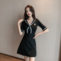 Dress Summer 2021 Sky blue, black S,M,L Short skirt singleton  Short sleeve commute Admiral High waist Solid color Socket other routine Others 18-24 years old Type A Simplicity 887018# 81% (inclusive) - 90% (inclusive) other polyester fiber