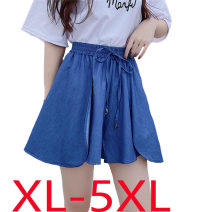 Jeans Summer 2020 navy blue XL (recommended 90-110 kg), 2XL (recommended 110-130 kg), 3XL (recommended 130-150 kg), 4XL (recommended 150-170 kg), 5XL (recommended 170-200 kg) shorts Natural waist Wide legged trousers ultrathin 18-24 years old Thin denim Dark color Other / other 96% and above