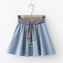skirt Spring 2021 Average size Dark blue, light blue Versatile Natural waist Pleated skirt Solid color Type A 18-24 years old 71% (inclusive) - 80% (inclusive) Zakafurenesa / sakaf cotton Pleating, stitching