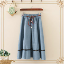 skirt Spring 2021 Average size Dark blue, light blue Mid length dress Sweet High waist A-line skirt Solid color Type A 18-24 years old 71% (inclusive) - 80% (inclusive) Denim cotton college