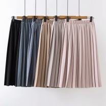 skirt Spring 2021 Average size longuette Sweet High waist Pleated skirt Solid color Type A 18-24 years old More than 95% Chiffon princess