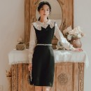 Dress Winter 2020 black S,M,L Mid length dress Fake two pieces Long sleeves Crew neck High waist Solid color A-line skirt 18-24 years old Type A 1850B 91% (inclusive) - 95% (inclusive)