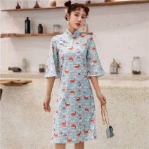 cheongsam Spring 2021 S,M,L,XL wathet Long sleeves long cheongsam Retro Low slit daily Oblique lapel Decor 18-25 years old Piping 71% (inclusive) - 80% (inclusive)