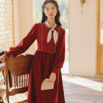 Dress Winter 2020 Red, blue S,M,L Mid length dress singleton  Long sleeves commute Crew neck High waist Socket A-line skirt 18-24 years old Type A Retro 71% (inclusive) - 80% (inclusive) knitting