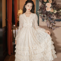 Dress Winter 2020 Milk apricot S,M,L Mid length dress singleton  Long sleeves commute V-neck High waist Solid color Socket Cake skirt Lotus leaf sleeve 18-24 years old Type A Retro 71% (inclusive) - 80% (inclusive)