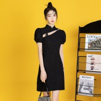 cheongsam Spring 2021 S,M,L black Short sleeve Short cheongsam Retro Low slit daily Oblique lapel Solid color 18-25 years old Piping 8715# 71% (inclusive) - 80% (inclusive)