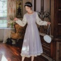 Dress Spring 2021 Lotus, violet S,M,L Mid length dress singleton  Long sleeves commute other High waist Solid color other A-line skirt other Others 18-24 years old Type A Retro 71% (inclusive) - 80% (inclusive)