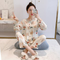 Pajamas / housewear set female Other / other viscose  Long sleeves Simplicity pajamas summer Thin money Crew neck Dot trousers double-breasted youth 2 pieces rubber string 81% (inclusive) - 95% (inclusive) other printing 220g