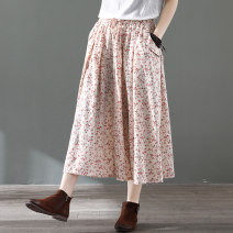 skirt Spring 2020 Average size Mid length dress Retro Natural waist A-line skirt Decor Type A 30-34 years old 71% (inclusive) - 80% (inclusive) cotton