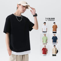 T-shirt Youth fashion routine M L XL 2XL 3XL Tkz elbow sleeve Crew neck easy Other leisure summer TKZ59156 Cotton 100% youth Off shoulder sleeve tide Cotton wool Summer 2021 Solid color Fake two pieces cotton washing Fashion brand Pure e-commerce (online only) More than 95%