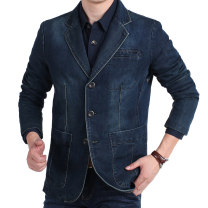Jacket ZHAN DI JI PU Fashion City Light blue, dark blue routine standard go to work spring Cotton 80% polyester 20% Long sleeves Wear out tailored collar youth routine Single breasted 2017 washing Loose cuff Solid color More than two bags)