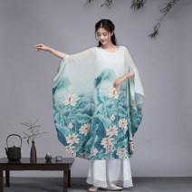 Dress Summer of 2019 Set Items  M,L,XL,2XL Mid length dress Two piece set Crew neck Loose waist Hand painted Socket Big swing Bat sleeve Others 25-29 years old printing Chiffon