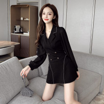 Dress Autumn 2020 black S,M,L,XL,XXL Short skirt Two piece set Long sleeves commute tailored collar High waist Solid color Socket A-line skirt bishop sleeve Others 18-24 years old Type A Korean version Splicing cs9.26
