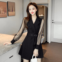 Dress Spring 2021 black S,M,L,XL Short skirt singleton  Long sleeves commute tailored collar High waist Solid color double-breasted A-line skirt routine Others 18-24 years old Type A Korean version Button, mesh, stitching w1.20 polyester fiber