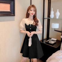 Dress Summer 2021 Apricot, purple S,M,L,XL,2XL Short skirt singleton  Short sleeve commute Doll Collar High waist zipper A-line skirt puff sleeve Others 18-24 years old Type A Korean version X3.19 51% (inclusive) - 70% (inclusive) other