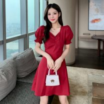 Dress Summer 2021 Red, black S,M,L Short skirt singleton  Short sleeve commute V-neck High waist Solid color zipper A-line skirt other Others 18-24 years old Type A Korean version Button w3.6 51% (inclusive) - 70% (inclusive)