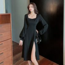 Dress Winter 2020 black S,M,L,XL longuette singleton  Long sleeves commute square neck High waist Solid color Socket A-line skirt puff sleeve Others 18-24 years old Type A Korean version fold w10.16