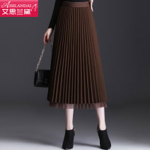 skirt Winter 2020 Average size Black Brown Mid length dress commute High waist Pleated skirt Solid color Type A A20D9101 other Islander Stitching of pleated yarn net Korean version Pure e-commerce (online only) 161g / m ^ 2 (including) - 180g / m ^ 2 (including)