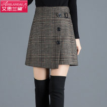 skirt Autumn 2020 20/M 21/L 22/XL 23/XXL 24/3XL 25/4XL lattice Short skirt commute High waist A-line skirt lattice Type A Wool Islander Korean version Pure e-commerce (online only) 161g / m ^ 2 (including) - 180g / m ^ 2 (including)