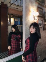 Dress Winter 2020 Sling, red and Black Plaid suit L,XL,2XL,3XL,4XL Middle-skirt singleton  Sweet camisole