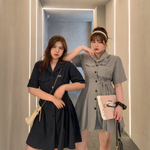 Dress Summer 2020 Navy, grey L,XL,2XL,3XL,4XL Short skirt singleton  Short sleeve commute High waist Solid color Single breasted Princess Dress routine 18-24 years old Type A Korean version