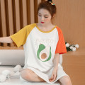 Nightdress Tanfeni Orange, red and blue 160(M),165(L),170(XL),175(XXL) Cartoon Short sleeve pajamas longuette summer Cartoon animation youth Crew neck cotton printing pure cotton 1309#