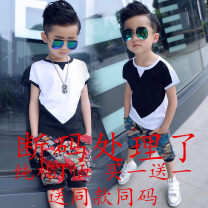 suit Qiokeyibei Black, white 90cm,100cm,110cm,120cm,130cm,140cm neutral summer leisure time Short sleeve + pants 2 pieces Thin money There are models in the real shooting Socket nothing other cotton children Expression of love Class B Cotton 95% viscose (viscose) 5% Chinese Mainland Zhejiang Province