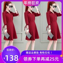 Dress Autumn 2020 Red, blue, navy M,L,XL,2XL Mid length dress singleton  Long sleeves commute Polo collar High waist Solid color Socket A-line skirt routine Others 25-29 years old Type A Other / other Korean version Splicing, resin fixation XWW-YLY-Y8807 81% (inclusive) - 90% (inclusive) other nylon