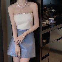 skirt Summer 2020 The second batch of XS is 11 working days in advance, the second batch of S is 11 working days in advance, the second batch of M is 11 working days in advance, and the second batch of L is 11 working days in advance Haze blue Short skirt commute High waist A-line skirt Solid color