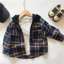 shirt Dark blue Other / other male 90cm,100cm,110cm,120cm,130cm,140cm spring and autumn Long sleeves leisure time lattice cotton