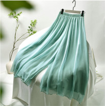 Casual pants Gray, white, black, lotus root, light green, apricot The length of elastic waist pants is 90cm, and the length of elastic waist pants is 80cm Autumn of 2019 trousers Wide leg pants Natural waist commute routine 96% and above Lace girl polyester fiber lady polyester fiber