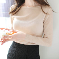Wool knitwear Spring 2020 S,M,L,XL Apricot, black, white Long sleeves singleton  Socket cotton 81% (inclusive) - 90% (inclusive) Regular routine commute Self cultivation One word collar routine Solid color Socket Korean version 25-29 years old