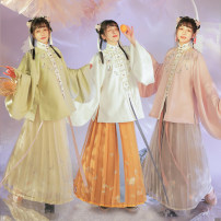 Hanfu 81% (inclusive) - 90% (inclusive) Lilac vertical collar 4.23 hair, silk white vertical collar 4.23 hair, Xiaohe green vertical collar 4.23 hair, brocade grey pleated skirt 4.23 hair, jasmine yellow pleated skirt 4.23 hair, apricot yellow pleated skirt 4.23 hair S,M,L cotton