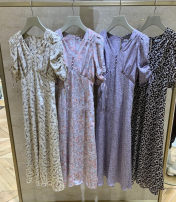 Dress Spring 2021 Purple, brown, pink, mint S, M longuette singleton  Short sleeve commute V-neck High waist Broken flowers Socket A-line skirt routine 25-29 years old Type A see peony printing 31% (inclusive) - 50% (inclusive) Chiffon polyester fiber