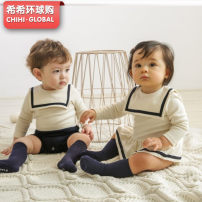 Jumpsuit / climbing suit / Khaki Other / other Class A currency Boys off white, girls off white, Boys Navy, girls Navy, blue and white stockings cotton spring and autumn Long sleeves Short climb Korean version There are models in the real shooting Socket 0-2 years old