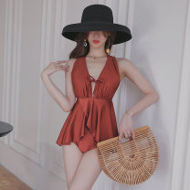 one piece  heyswim M,L,XL claret Skirt one piece With chest pad without steel support female Sleeveless Casual swimsuit