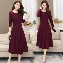 Dress Winter of 2019 L,XL,2XL,3XL,4XL,5XL longuette singleton  Long sleeves commute Crew neck middle-waisted Solid color Socket A-line skirt routine Others 30-34 years old Type A Korean version