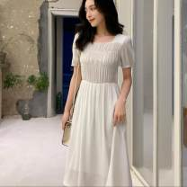 Dress Spring 2021 White, light blue S,M,L,XL Mid length dress singleton  Short sleeve commute One word collar middle-waisted lattice zipper other puff sleeve Others 25-29 years old Type A pocket 31% (inclusive) - 50% (inclusive) other cotton
