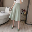 skirt Spring 2021 S,M,L,XL,2XL Black, apricot, bean green longuette Versatile High waist Umbrella skirt Solid color Type A 18-24 years old T-14 71% (inclusive) - 80% (inclusive) other Pleated, zipper