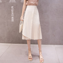 skirt Spring 2021 S,M,L,XL Silver, black, Burgundy, apricot Mid length dress Versatile High waist Irregular Solid color Type A 18-24 years old Y-46 Fold, asymmetry, zipper, swallow tail