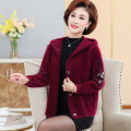 Middle aged and old women's wear Winter 2020, autumn 2020 M,L,XL,XXL,XXXL,4XL fashion Jacket / jacket easy singleton  Solid color 40-49 years old Cardigan thick Hood routine routine pocket Others, mink 96% and above Single breasted