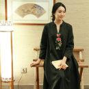 Dress Summer 2015 black longuette singleton  commute V-neck Loose waist Big swing routine Type A Zhu's original Embroidery, stitching