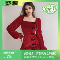 Dress Winter 2020 Red, black S,M,L Short skirt singleton  Long sleeves commute square neck High waist Solid color Socket One pace skirt routine 18-24 years old Type H Retro Button SSD9696W12 More than 95% polyester fiber