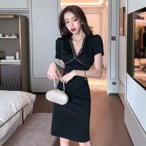Dress Summer 2021 black S,M,L Middle-skirt singleton  Short sleeve commute V-neck High waist Solid color One pace skirt routine Type X Korean version Lace, stitching